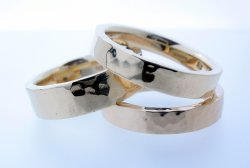 9ct yellow gold hammered finish wedding rings