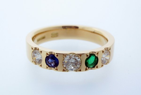 18ct Yellow gold diamond & emerald & sapphire Eternity Ring - Click Image to Close