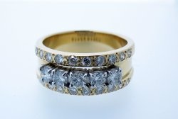 18ct Yellow gold multi diamond set Eternity ring
